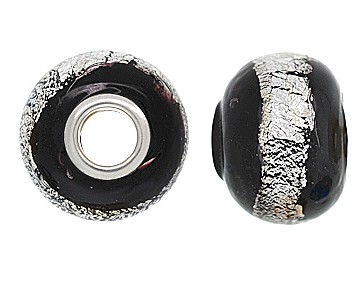 925 Glass Beads Giant - Black & Silver Foil